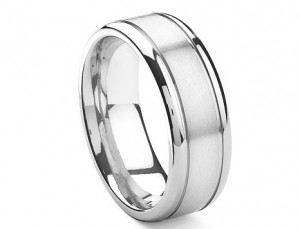 Cobalt 8MM Double Grooves Wedding Band