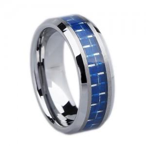 Blue Carbon Fiber Tungsten Ring