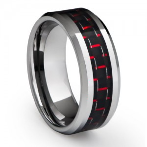 Red Carbon Fiber Tungsten Ring