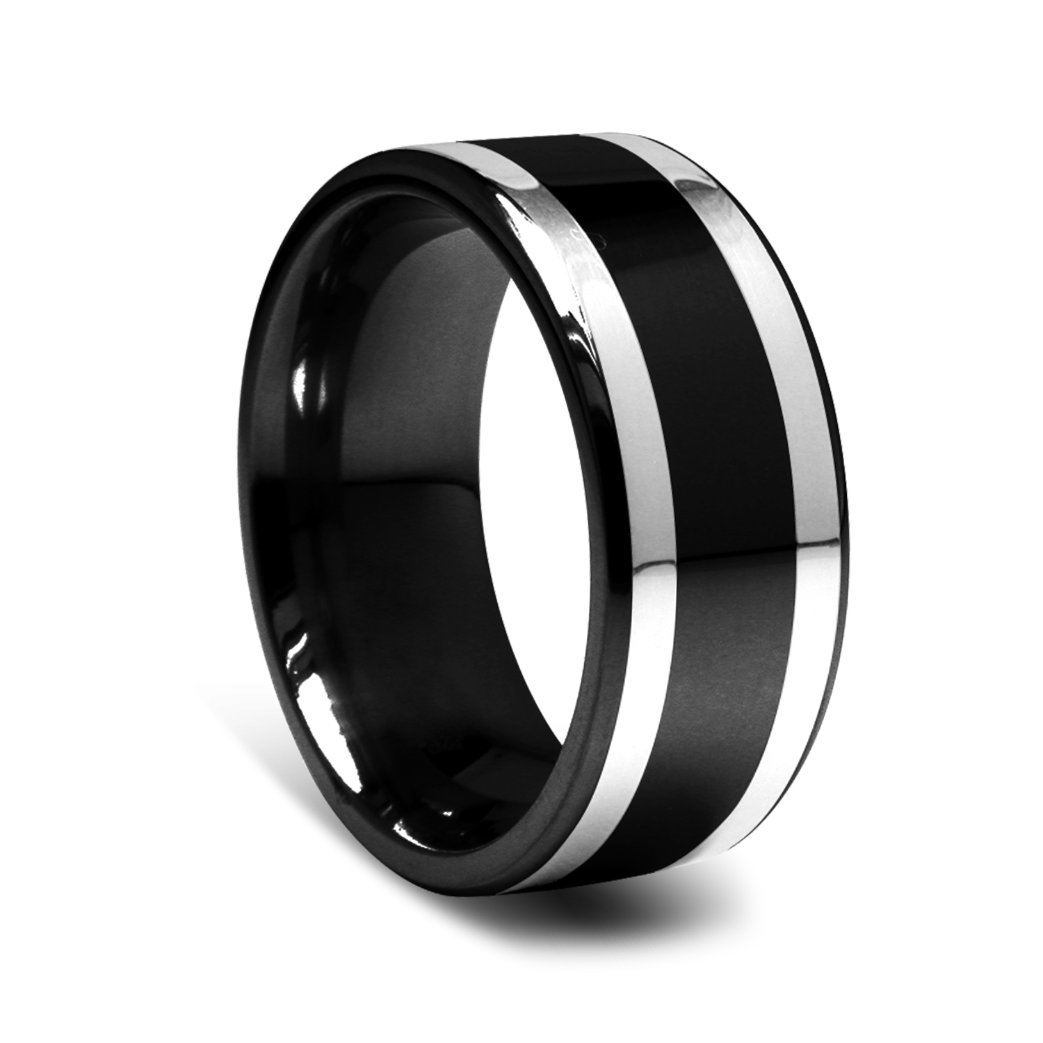 gold triton tension bands with white mens black diamond titanium set ring