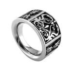 Flat Heritage Gray Titanium Ring