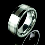 Tungsten mens ring with Silver