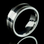 Mens Tungsten Ring with 2 Silver inlays