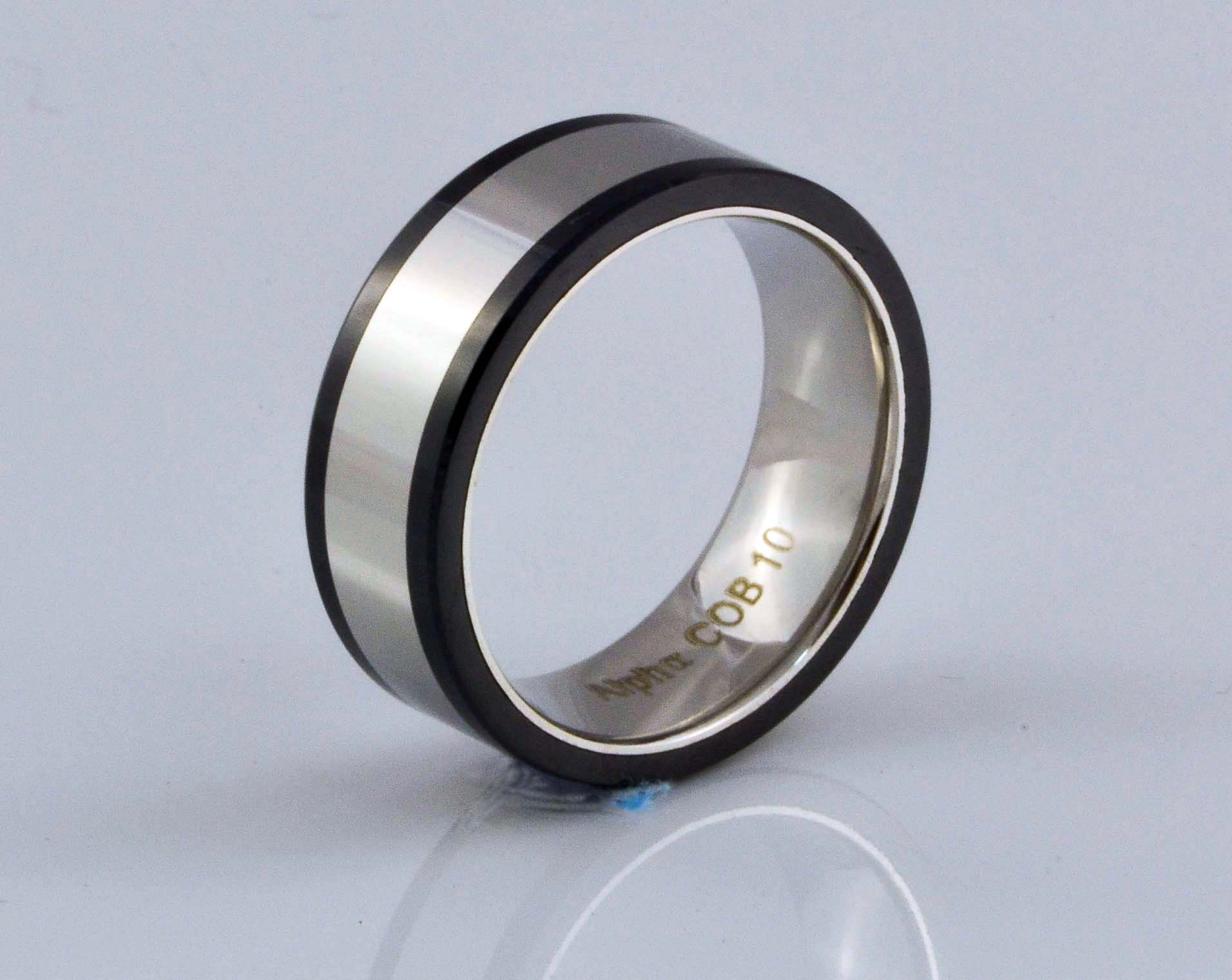satin rings ring polished edge shiny with wedding stepped products cobalt brushed and center black