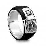 Black mens titanium ring