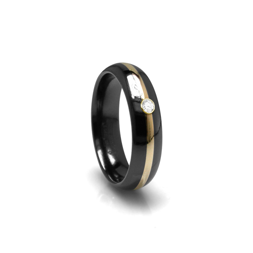 titanium black dome men s ring with alpha rings
