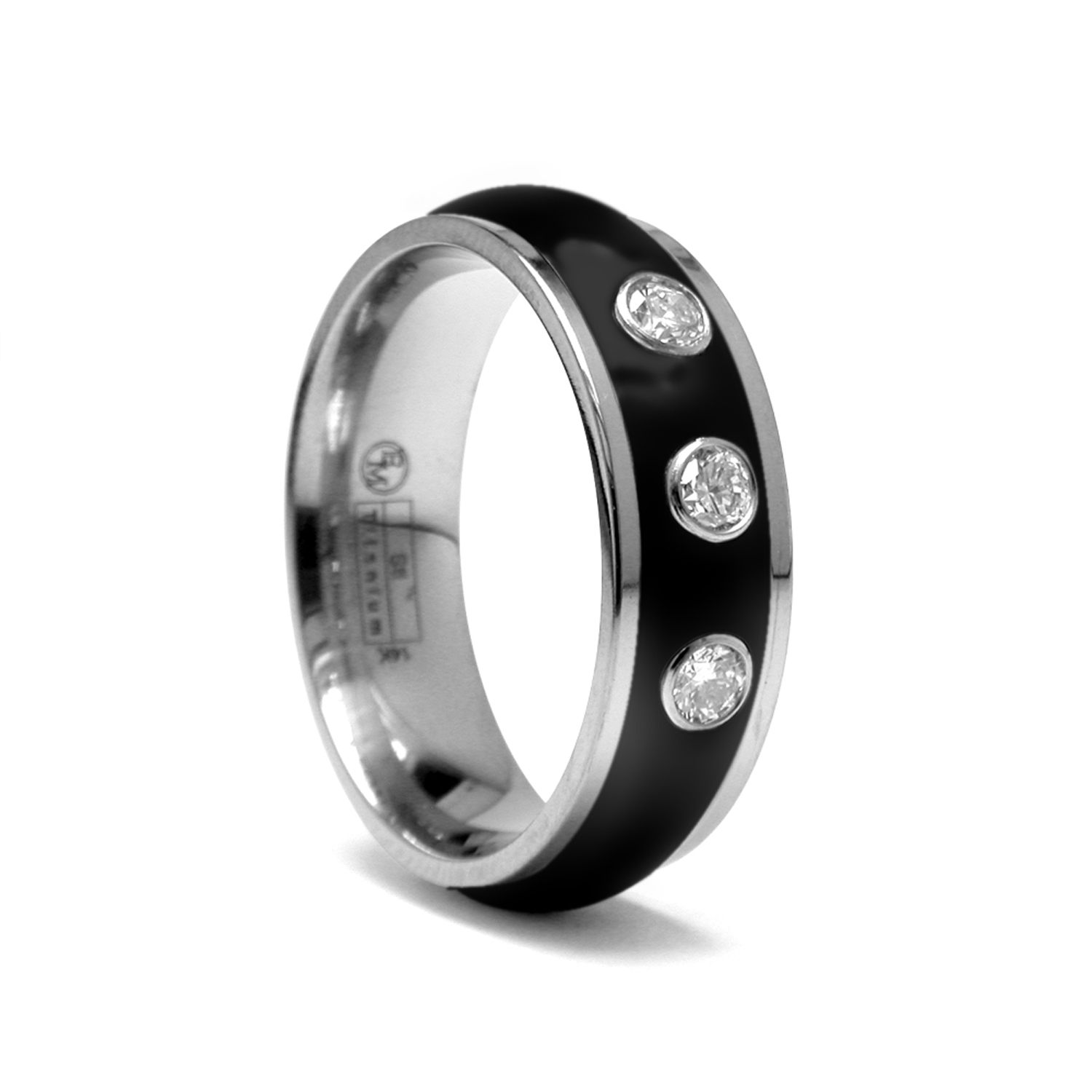 7mm Black Titanium Men's Wedding Ring  Alpha Rings