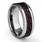 Tungsten with Red Carbon Fiber inlay