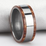 Tungsten Ring with wood edges