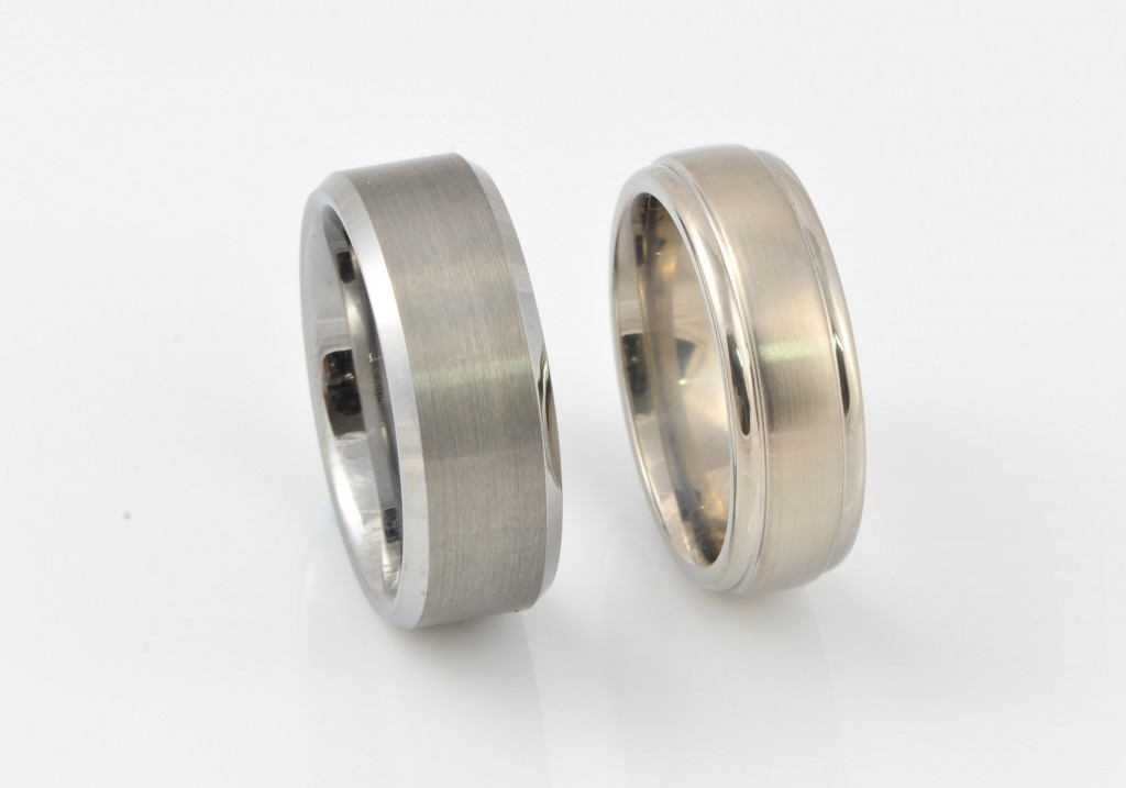 Tungsten ring on the left, Titanium ring on the right