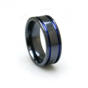 black and blue mens ring