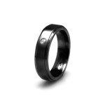 black titanium and diamond ring